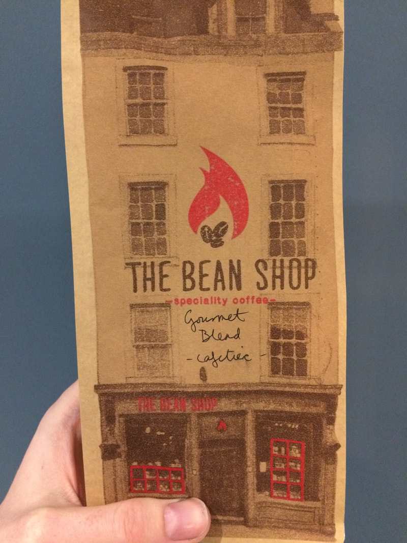 A bag of coffee from The Bean Shop